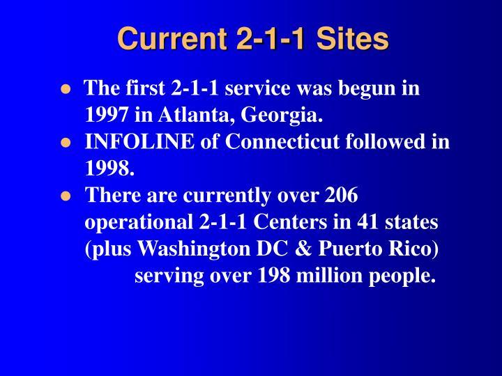 Current 2-1-1 Sites
