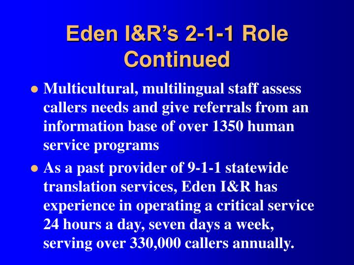 Eden I&R's 2-1-1 Role