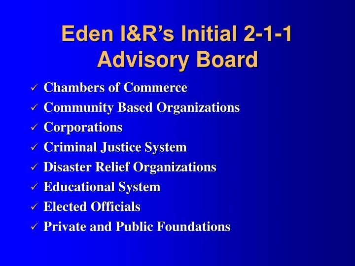 Eden I&R's Initial 2-1-1