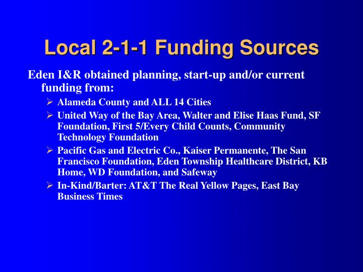 Local 2-1-1 Funding Sources
