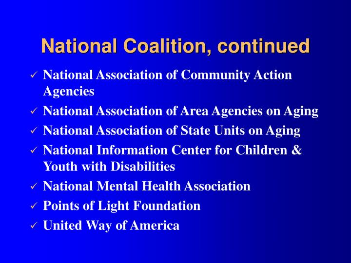 National Coalition, continued
