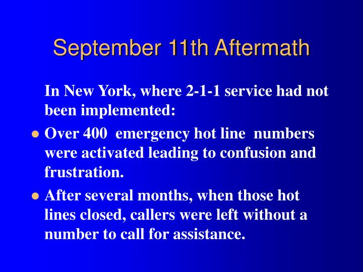 September 11th Aftermath