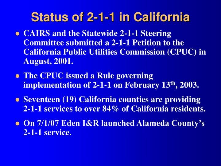 Status of 2-1-1 in California