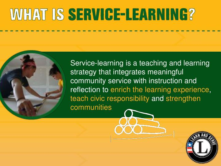 Service-learning is a teaching and learning strategy that integrates meaningful community service with instruction and reflection to