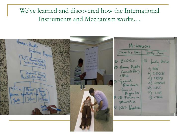 We've learned and discovered how the International Instruments and Mechanism works…