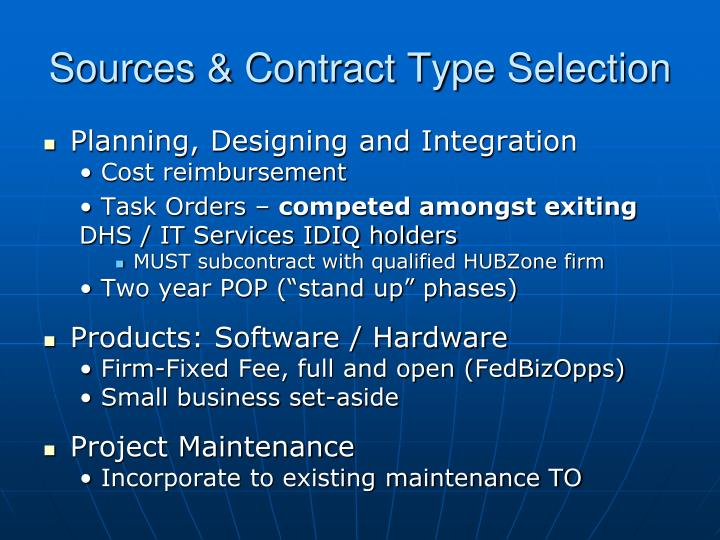 Sources & Contract Type Selection