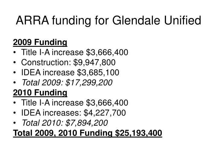 ARRA funding for Glendale Unified