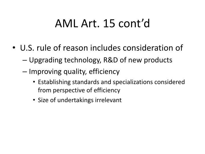 AML Art. 15 cont'd