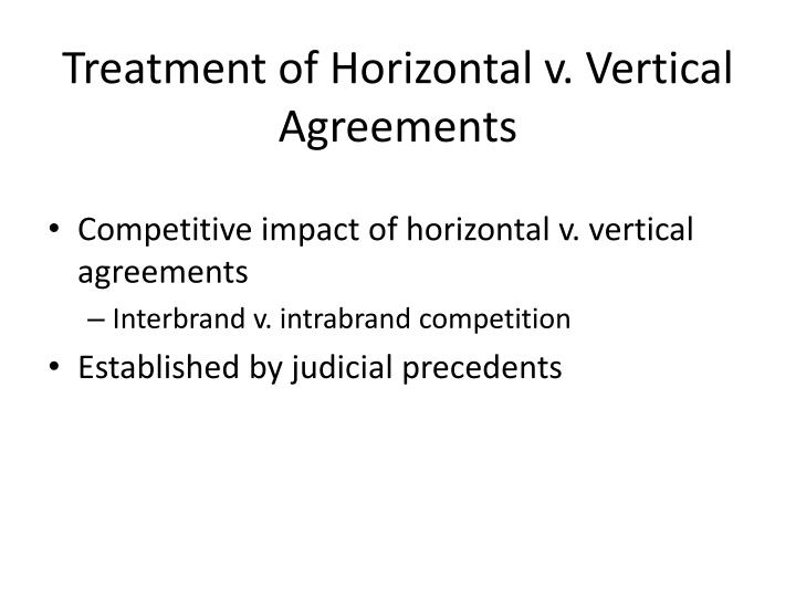 Treatment of Horizontal v. Vertical Agreements