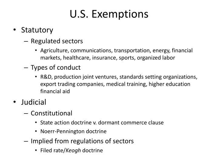 U.S. Exemptions