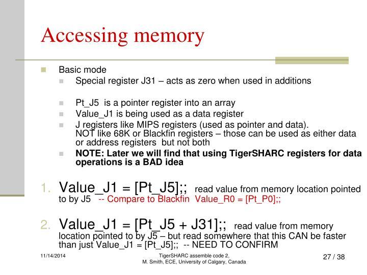 Accessing memory