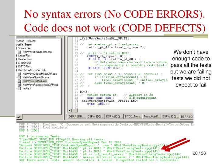 No syntax errors