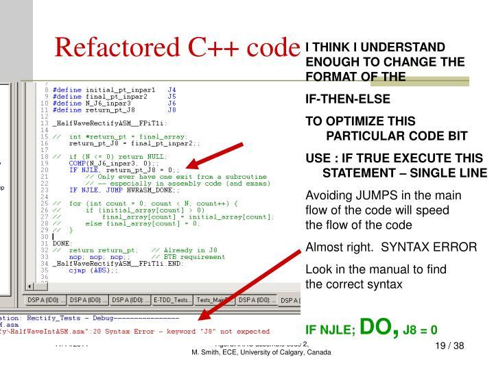 Refactored C++ code