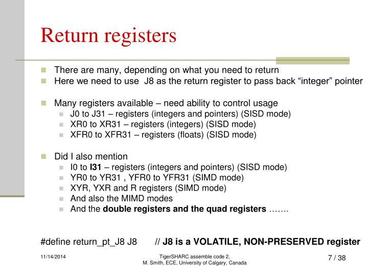 Return registers
