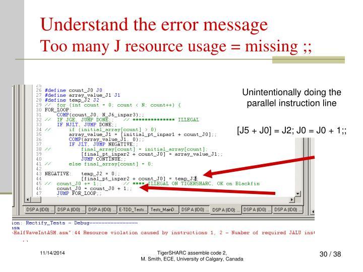 Understand the error message