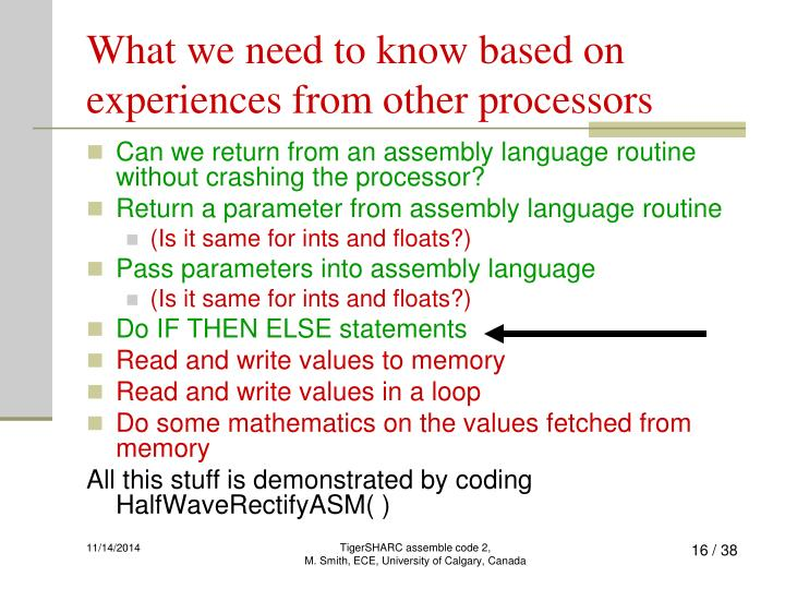 What we need to know based on experiences from other processors