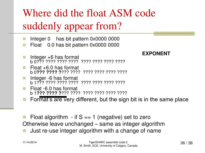 Where did the float ASM code suddenly appear from?