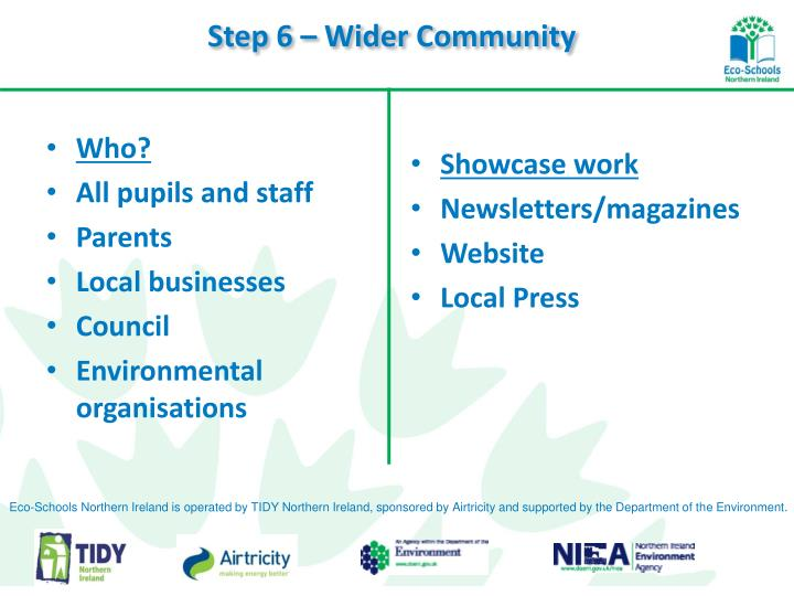 Step 6 – Wider Community