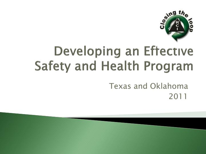 Developing an effective s afety and health p rogram
