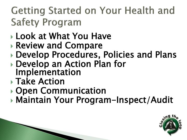 Getting Started on Your Health and Safety Program