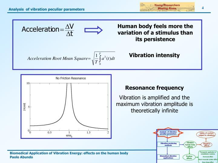Analysis  of vibration peculiar parameters