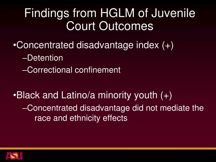 Findings from HGLM of Juvenile Court Outcomes