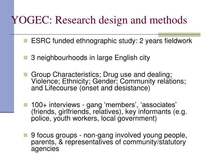 YOGEC: Research design and methods