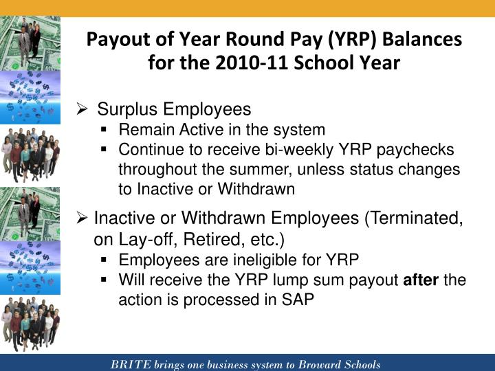 Payout of Year Round Pay (YRP) Balances for the 2010-11 School Year