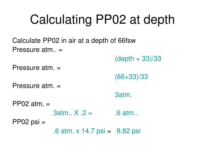 Calculating PP02 at depth