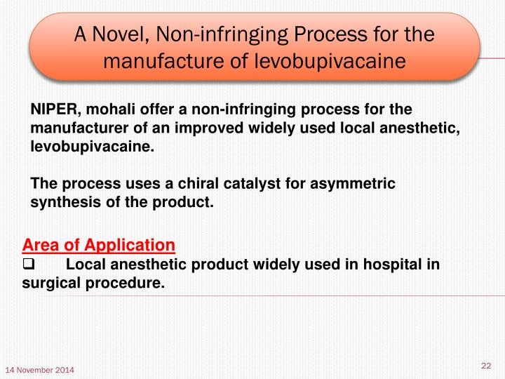 A Novel, Non-infringing Process for the manufacture of levobupivacaine