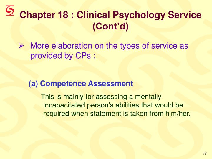 Chapter 18 : Clinical Psychology Service                (Cont'd)
