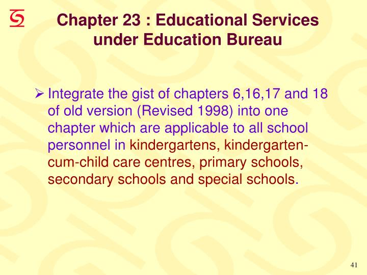 Chapter 23 : Educational Services under Education Bureau