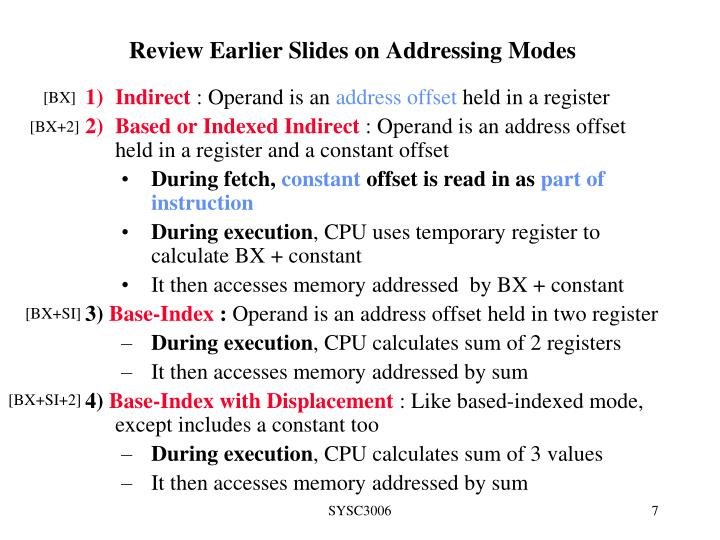 Review Earlier Slides on Addressing Modes