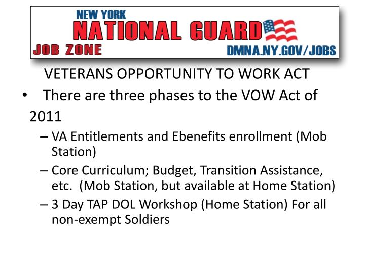 VETERANS OPPORTUNITY TO WORK ACT