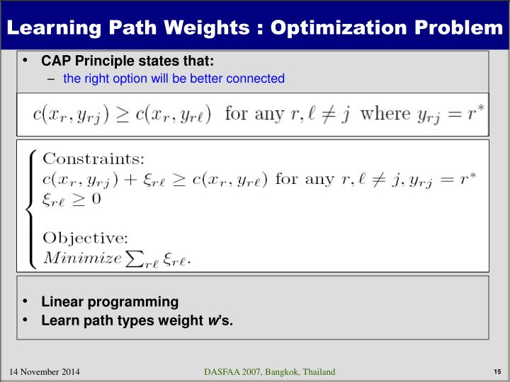 Learning Path Weights : Optimization Problem