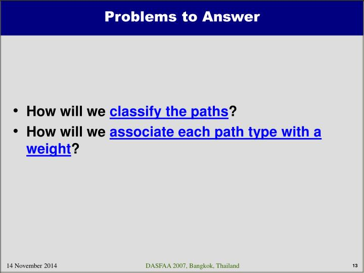 Problems to Answer