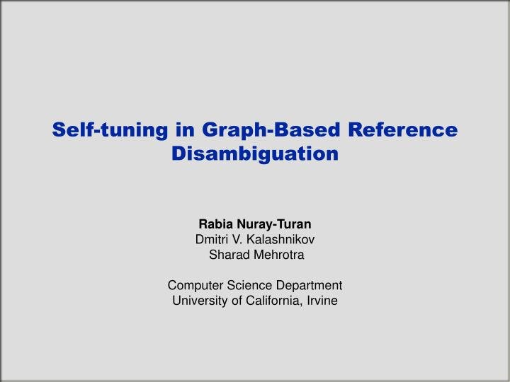Self-tuning in Graph-Based Reference Disambiguation