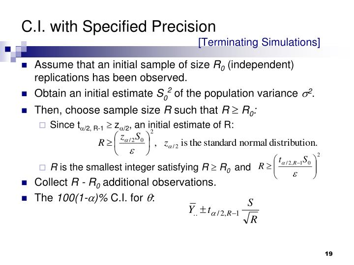 C.I. with Specified Precision