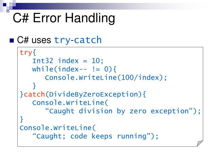 C# Error Handling