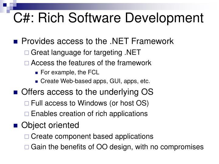 C#: Rich Software Development
