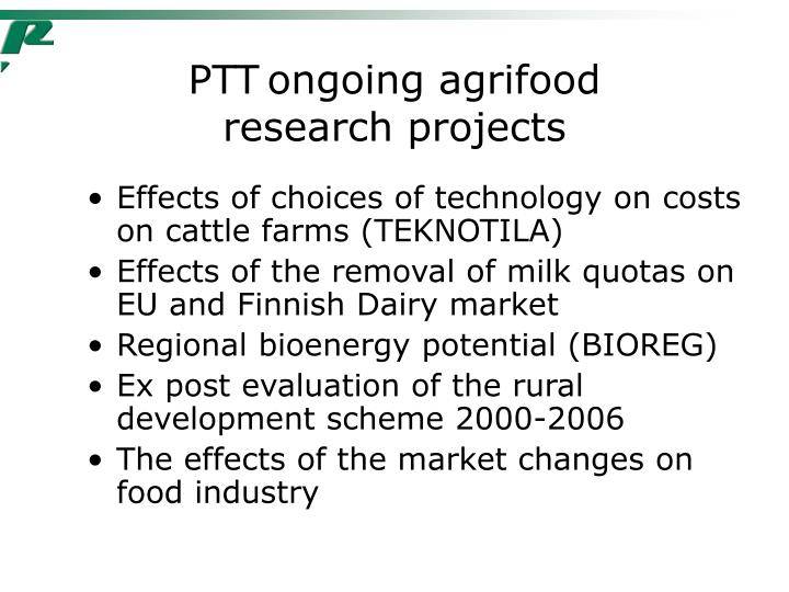 PTT	ongoing agrifood