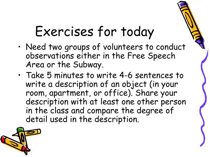 Exercises for today