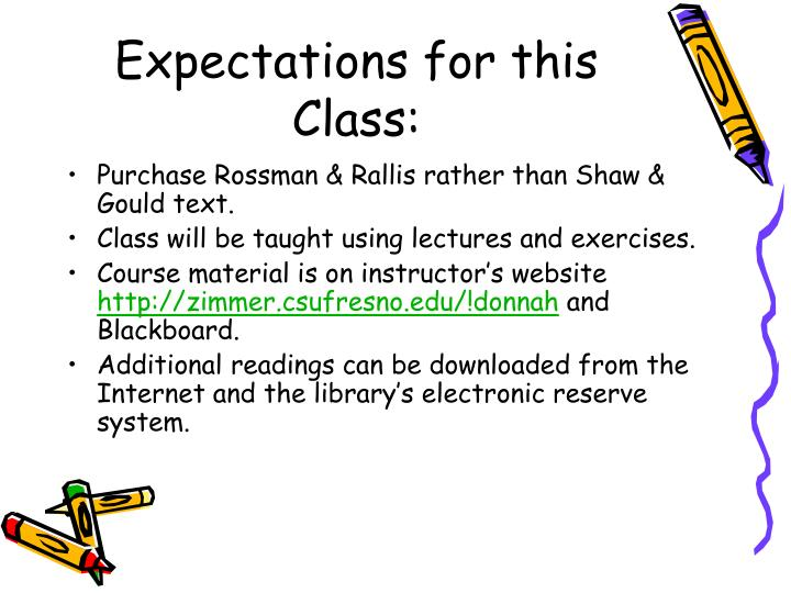Expectations for this Class: