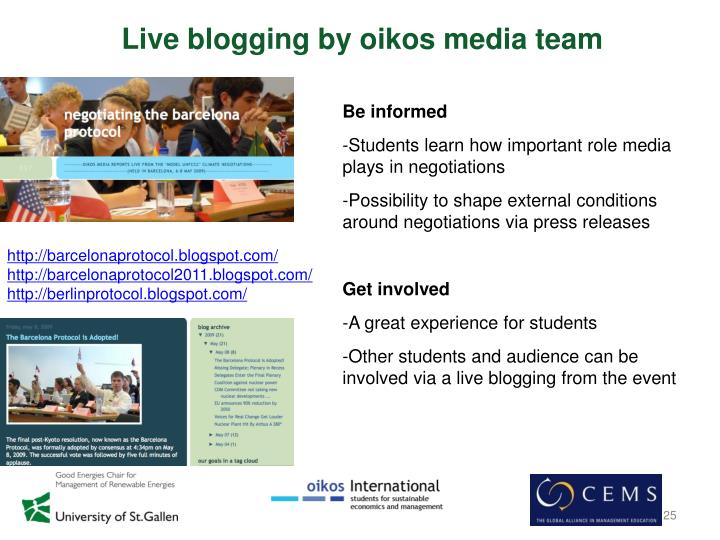 Live blogging by oikos media team