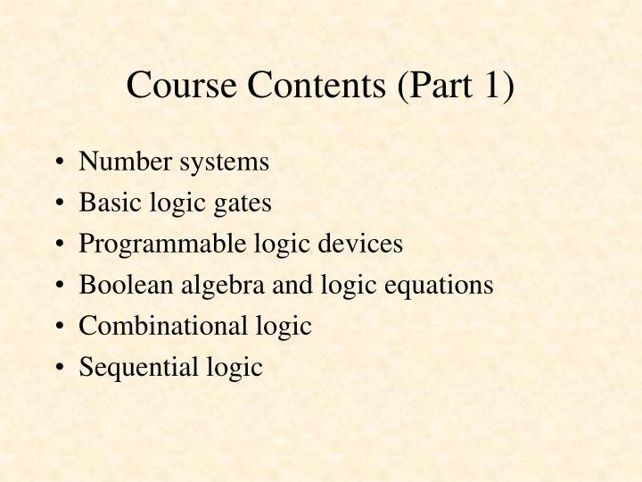 Course Contents (Part 1)