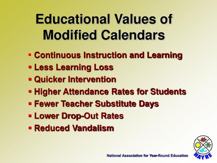Educational Values of Modified Calendars