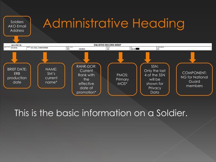 Administrative Heading