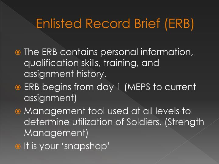 Enlisted record brief erb