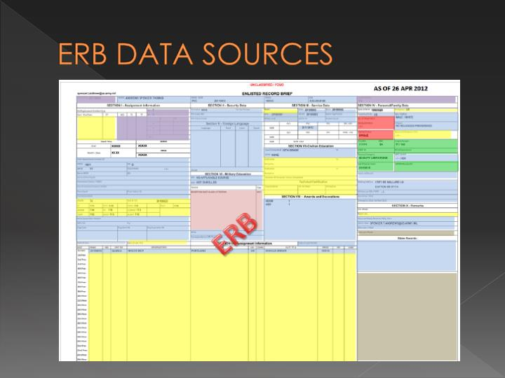 ERB DATA SOURCES