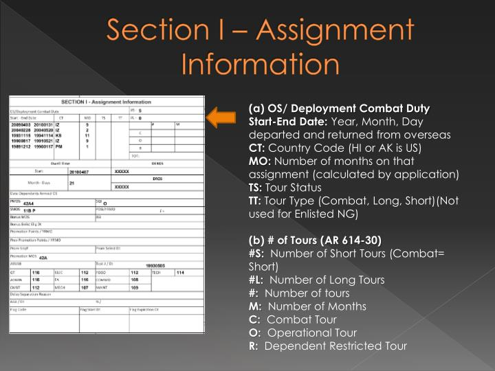 Section I – Assignment Information